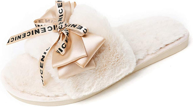 Nafanio Letter Print Slippers Open Toe Home Fur Woman Winter Warm Fluffy Mules Lady Plush Flip Flops shoes