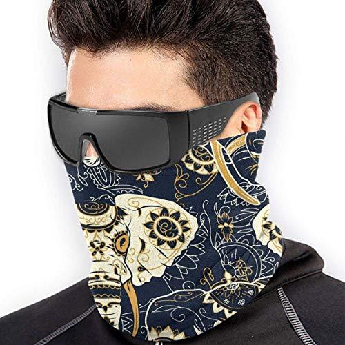 QDAS mannen vrouwen Suikerschedel Indiase olifantenhals Gamas Warmer Print Skischlang sjaal voor stof Outdoor Sport Black