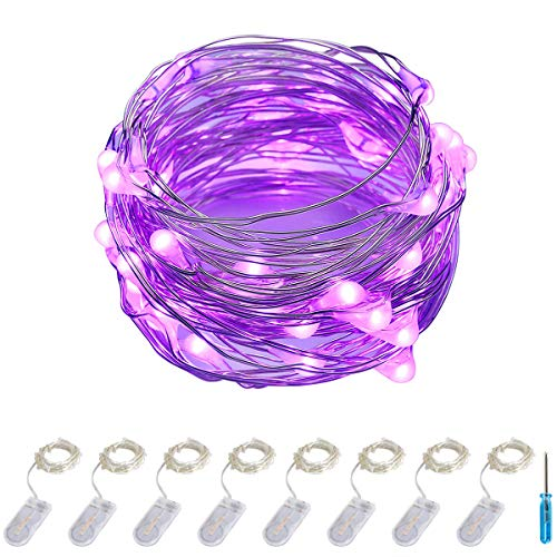 ITART Purple LED String Lights Battery Powered Set of 8 Mini Fairy Lights 20 LED 6ft Thin Wire Rope Lights for DIY Craft Halloween Wedding Party Centerpiece Decoration