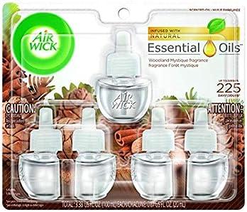 Air Wick Plug in Scented Oil 5 Refills, Woodland Mystique, Fall scent, Fall spray, (5x0.67oz), Essential Oils, Air Fr...