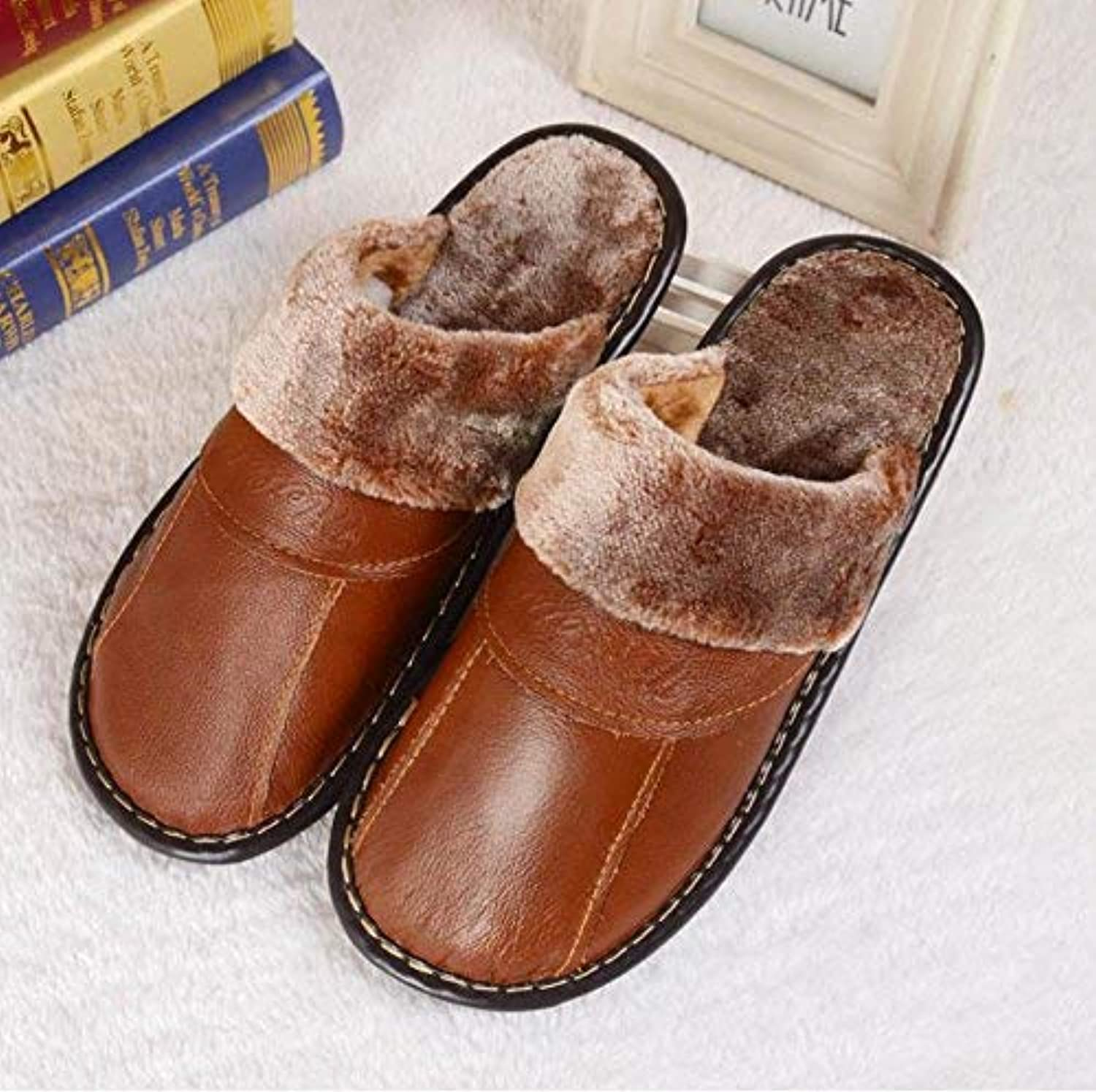 GouuoHi Men Slipper Men's Slippers at Home in Autumn and Winter The Indoor Warm Non Slip Artificial Leather Slippers Black Brown