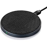10W Fast Wireless Charger Qi Certified Premium Fabric Wireless Charging Pad Compatible with iPhone 11/Xs MAX/XR/XS/X/8/8,10W Fast-Charging Samsung Galaxy S10/S9/S9+/S8/S8+, Black