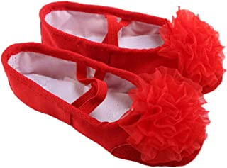 HEALLILY Ballet Dancing Shoes With Gauze Flower Leather Soles Dance Shoes For Kids Size 35 Red