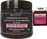 Sapone Nero Marocchino 250g con olio Argan e acqua di rosa pura, 100% naturale + guanto esfoliante per corpo e viso purificante con sapone nero - Maroc Glam