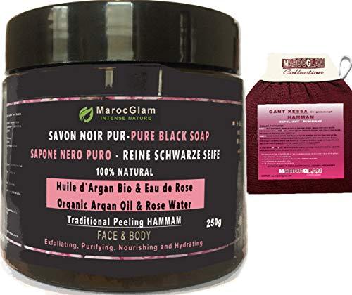 Jabón negro exfoliante de 250 g + guante Kessa de regalo, con aceite de argán orgánico y agua de rosa pura, exfoliación tradicional 100 % natural, cuerpo y rostro, purificante Marruecos GLAM