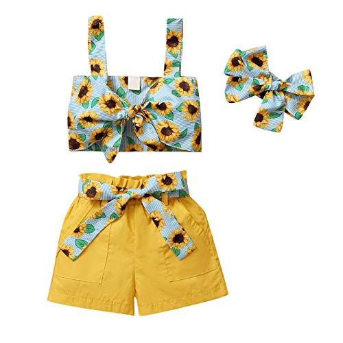 DaMohony Diadema con estampado de girasol para niña pequeña