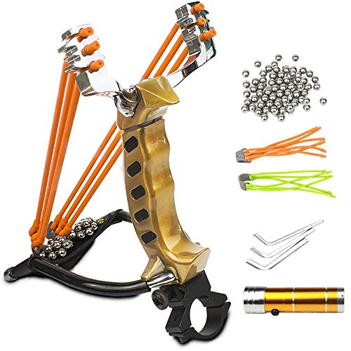 Wisdoman MoreFarther Outdoor Athletics Slingshot Kit, Adjustable Stainless Professional Hunting Catapult High Powerful Slingshots Rubber Bands and 50 Steel Balls (Bronze)