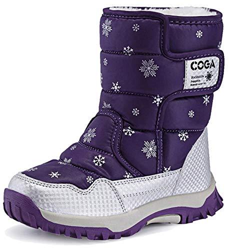 Botas de Nieve para Unisex-niños Zapatos Invierno Forrados de Piel Botas Niñas Impermeables Calientes y Antideslizante