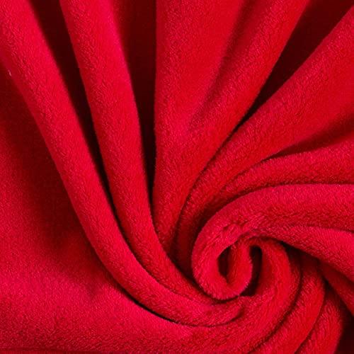 Kuschelfleece – signalrot — Meterware ab 0,5m — zum Nähen von Decken, Tagesdecken & Nachtwäsche/Homewear