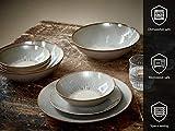 ONA , 16-teilig Steingut Geschirr Set , modernes Tafelservice für 4 Personen, Kombiservice im Vintage Design mit 4 Speiseteller, 4 Dessertteller, 4 Tassen und 4 Schüsseln (Beige) - 4