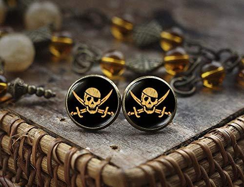 Bloody devil Pendientes de Tuerca de Pirata con diseño de Calavera y Espada, Pendientes de Calavera, Veneno Pirata, Pendientes de Jolly Roger, Pendientes de mar, joyería de Calavera Pirata
