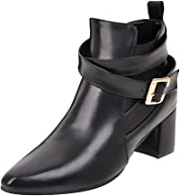 LIM&Shop Women's Closed Toe Faux Suede with Faux Leather Buckle Strap Chunky Stacked Heel Ankle Boot Block Short Boot