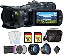 Canon Vixia HF G50 UHD 4K Camcorder (Black) Bundle with 2X 32 GB Memory Cards + LCD Screen Protectors + 3pcUV Filter + Telephoto Lens and More