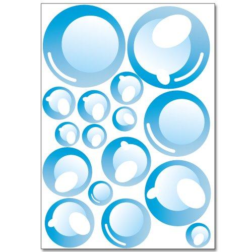 Wandkings Seifenblasen Wandsticker Set, 32 Aufkleber, 2 DIN A4 Bögen, Gesamtfläche 60 x 20 cm