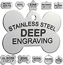 Stainless Steel Custom DEEP Engraved Pet ID Tags Personalized Front and Back Dog Tags for Dogs and Cats (Bone 1