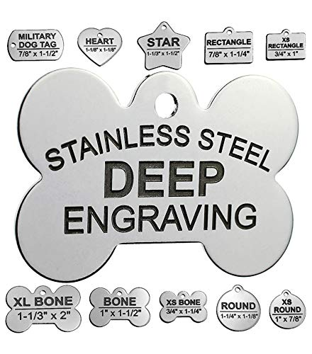 """Stainless Steel Custom DEEP Engraved Pet ID Tags Personalized Front and Back Dog Tags for Dogs and Cats (Bone 1"""" x1-1/2 (2-Side Engraving))"""