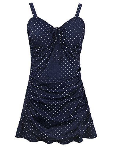 Septangle Women's One Piece Swimdress Polka Dot Skirt Type Cover up Swimsuit (Dark Blue,US 18)