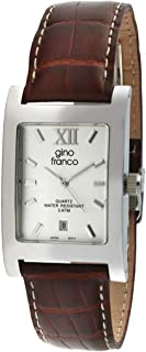 Gino Franco Men's Rectangular Stainless Steel Watch - Matched with Croco Embossed Italian Leather Strap