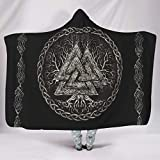 Zerosubsidi Viking Valknut and Tree of Life Hooded Throw Blanket Fluffy and Warm Wearable Cuddle Blanket for Adults Men Women Kids White 60x80 inch