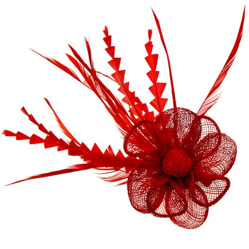 Acosta – Rouge plumes et filet corsage Spray – Cheveux Bibi/broche/accessoire