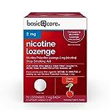 Amazon Basic Care Nicotine Polacrilex Lozenge, 2 mg (nicotine), Stop Smoking Aid, Cherry Flavor; quit smoking with cherry nicotine lozenge, 72 Count