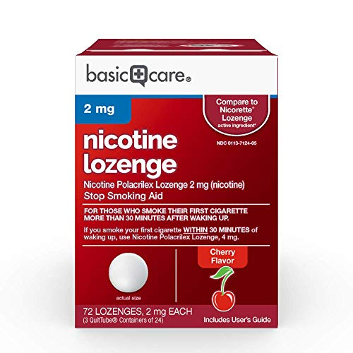 Basic Care Nicotine Polacrilex Lozenge, 2 mg (Nicotine), Stop Smoking Aid, Cherry Flavor, 72 Count