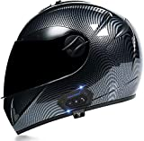 ZLYJ Bluetooth Casco de Motocicleta de Cara Completa Modular Abatible hacia Arriba con Bluetooth Integrado, Casco Bluetooth Modular de Doble Visera, Intercomunicador FM Mp3 Casco Aprobado por ECE C,L