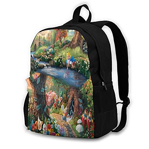 Alice im Wunderland Rucksack für Erwachsene, modische tragbare Computertaschen, Aufbewahrungstaschen, Freizeit-Reisen, Bergsteigen, multifunktionale Arbeits- und Lernrucksäcke Gr. One size, Schwarz