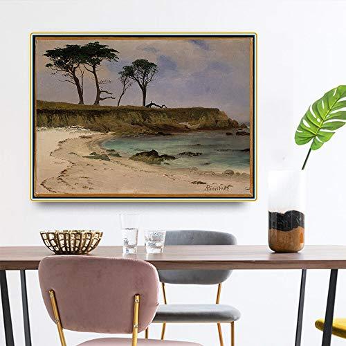 SIRIUSART Albert Bierstadt 《Sea Cove》 Lienzo Arte Pintura al óleo Obra de Arte Póster Imagen Decoración de la Pared Decoración Moderna de la Sala de Estar del hogar 108x80cm Sin Marco