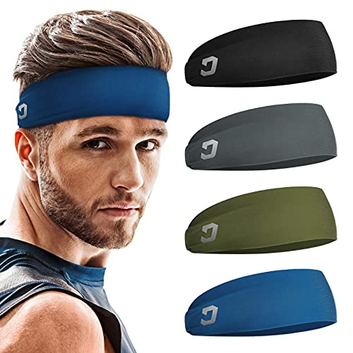 Vinsguir Athletic Mens Headband (4 Pack) - Lightweight Headbands for Men, Sweat Band, Moisture Wicking Head Band Sweatband for Helmet, Gym Accessories for Training Boxing Tennis Unisex Hairband
