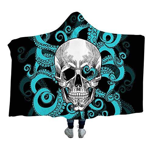 Wzz Coperta con Cappuccio Sherpa Fleece Wearable Blanket Gotico, 3D Stampa Molle Eccellente Blanket di Halloween per Adulti, Bambini,Blu,130cmx150cm
