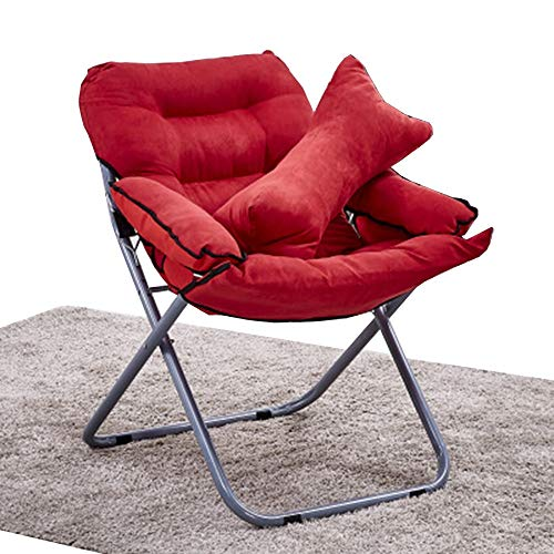 FUFU Patio Lounge Chairs Lounge Chair, Folding Chair Lazy Cushion Dormitory Computer Chair Bay Window Lounge Chair Chair 80 * 51 * 76CM Durable (Color : Red)