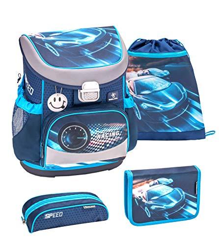 Belmil ergonomischer Schulranzen Set 4 -teilig für Jungen 1, 2 Klasse Grundschule/Super Leicht 750-800 g/Brustgurt/Auto, Rennauto/Blau (405-33 Race Blue)