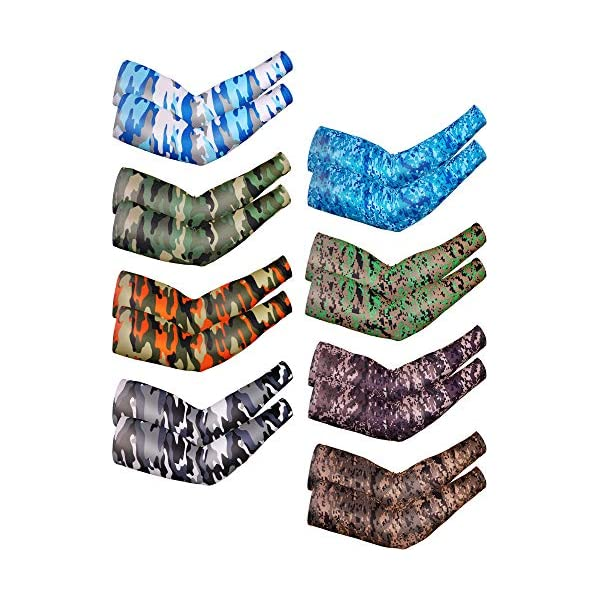 Bememo 8 Pairs UV Protection Arm Sleeves Long Arm Cooling Sleeves Ice Silk Arm Cover Sleeves Unisex Sun Sleeves for Running Cycling Driving Outdoor Sports