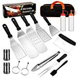 G.a HOMEFAVOR 16 PCS Flat Top Griddle Accessories Set for Blackstone and Camp Chef Griddle BBQ Tool Set Kit & Carry Bag! Metal Spatula, Griddle Scraper, Egg Rings for Teppanyaki & Gas Grill
