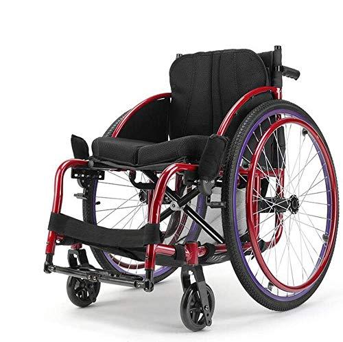 MJY Sillas de ruedas livianas 13Kg Silla de ruedas de transporte plegable portátil Asiento ergonómico Soporte de carga de 100Kg Asiento de 40 * 40Cm Silla de ruedas de tipo deportiv 🔥