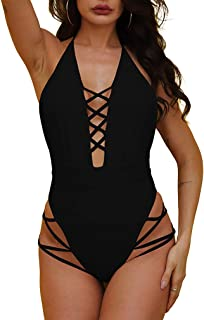 Womens Sexy One Piece Lace Up Straps Swimsuit Bathing Suit Swimwear