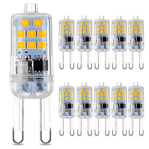 G9 LED Warmweiß 2700K, 3W LED G9 Ersatz 30W Halogenlampen, 300 Lumen, 220-240V AC Nicht Dimmbar, 10er Pack