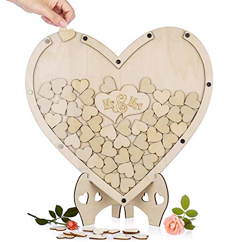 Unique Wedding Guest Book Alternative with 75 Pcs Wooden Hearts, Drop Top Rustic Visitors Book with Wooden Hearts, Wood Frame Drop Box Guestbooks