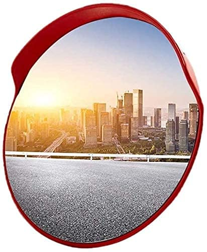 SMTAO Espejo de Tráfico Convexo en la Carretera 45-120Cm Espejo de Tráfico de Gran Angular de Supermercado, Espejo Esférico de Plástico Rojo Espejo de Seguridad para Hospitales Comunitarios,Los 45Cm