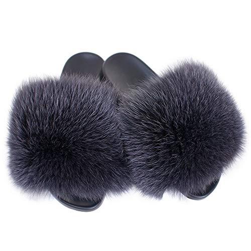 Fell Latschen Pelz Pantoffeln mit Graphite Fuchs Echtfell Echtpelz Schlappen Sandalen mit Pelz Fuchsfell Slipper Slides Schuhe Pantoletten (39 EU)