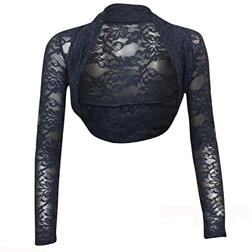 krautwear Bolero de manga larga para mujer, estilo bolero, para boda, fiesta, encaje, negro, blanco, rojo, beige, azul, rosa Azul marino 03 talla única