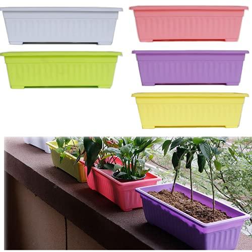 5 pcs 14 Pouces Multicolore fenêtre rectangulaire jardinière de jardinière pour Balcon, Rebord de fenêtre, Jardin (Pas de Plateau Inclus)