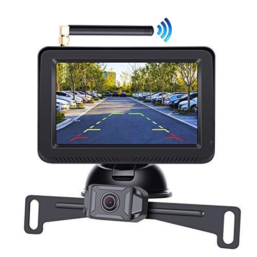 "Regetek AHD 1080P Digital Wireless Backup Camera System 5"" Reversing Monitor with Night Vision Waterproof Rear View Camera for Trailers Campers Vans Cars Sedans Pickup Truck SUV Minivans ATVs UTVs RV"