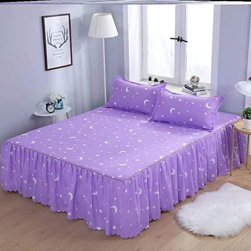 Ropa de Cama Falda de Cenefa de Cama elástica con Volantes - Falda de Cama a Prueba de Polvo de Microfibra cepillada Suave (Color : J, Size : 100X200CM)