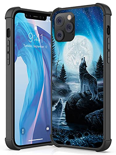 Compatible with iPhone 12 iPhone 12 Pro Case, Soft TPU with 4 Corners Shockproof Protection Bumper and Scratch-Resistant Hard PC Back Cover for iPhone 12/12 Pro Case 6.1 (Wolf Roared with Full Moon)