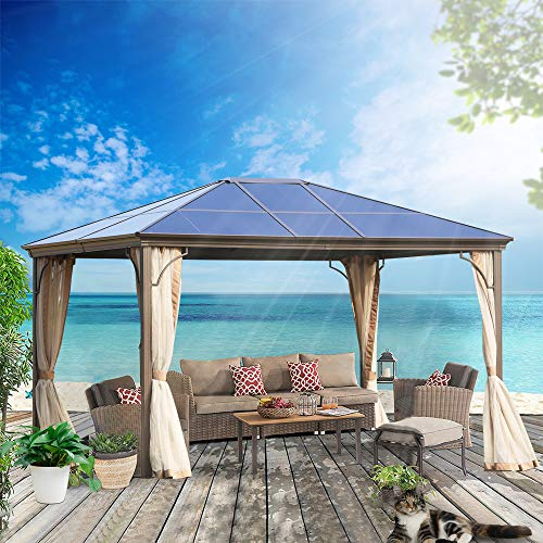 MorNon Outdoor Steel Frame Gazebo with Mesh Screen Netting Curtains Heavy Duty Waterproof for Deck, gazebos for patios 12x10 ft Patio and Backyard