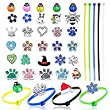 60 Colorful Chicken Poultry Leg Bands Adjustable Chicken Identification Bands Plastic Cable Tie with 30 Poultry Charms Accessories for Bird Chicken Duck Parrot Geese Turkey