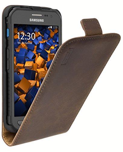 mumbi Echt Leder Flip Case kompatibel mit Samsung Galaxy Xcover 3 Hülle Leder Tasche Case Wallet, braun