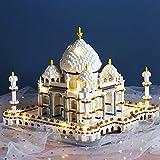 yxx Puzzle arquitectónico 3D Taj Mahal Mini Building Block 3950+ Pequeño Modelo arquitectónico Famoso del Mundo granular, nanopartícula Juego de niños para Adultos (Color : Taj Mahal and led)